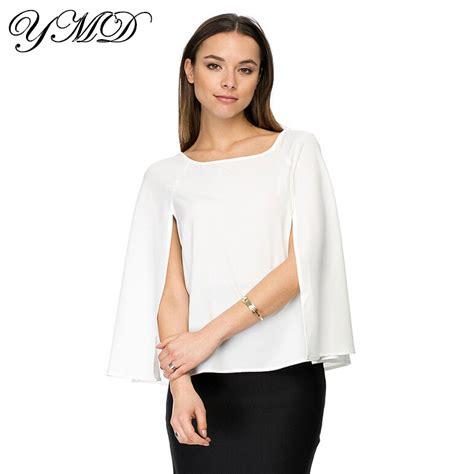 Slim Casual Top Black White 221884 slim stylish casual chiffon shirt white and black clothes summer tops plus size clothing
