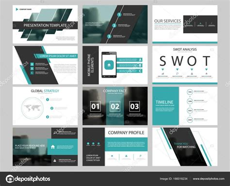 Business Presentation Infographic Elements Template Set Annual Report Corporate Horizontal Corporate Template