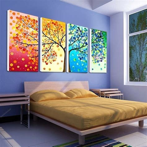 4 piece frameless colourful leaf trees canvas painting modular pictures picture more detailed picture about