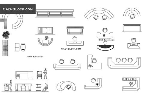 reception desks cad blocks free