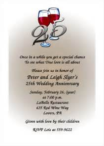 Sle Invitation Letter For 25th Wedding Anniversary 25th Wedding Anniversary Invites 7029 Ibu Tf
