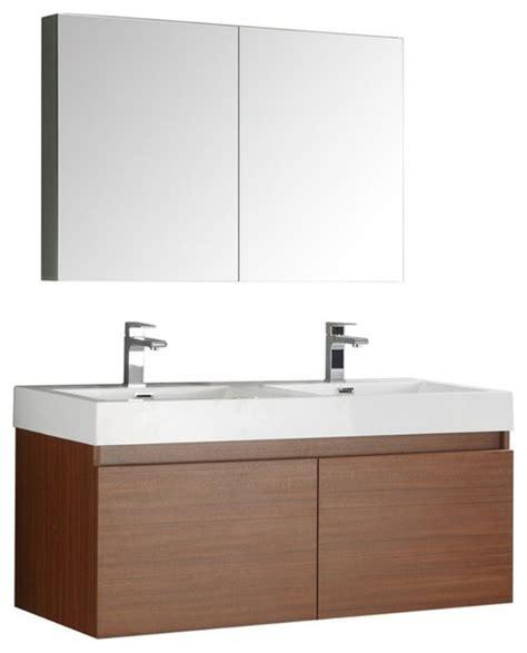 modern wall hung vanities shop houzz fresca mezzo 48 quot teak wall hung sink