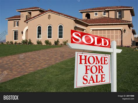 sold home sale sign front new house image photo bigstock