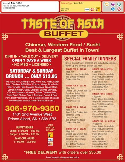 taste of asia buffet menu hours prices 1401 2nd ave