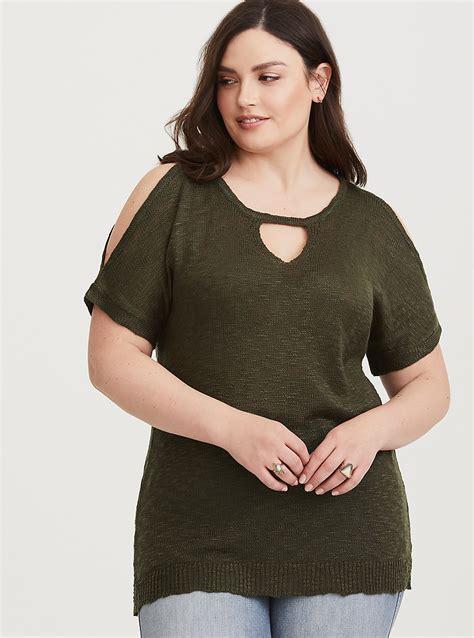 Shoulder Knit Pullover olive cold shoulder knit pullover torrid