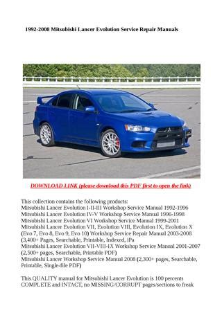 hayes auto repair manual 2003 mitsubishi lancer evolution regenerative braking 1992 2008 mitsubishi lancer evolution service repair manuals by xiumin issuu