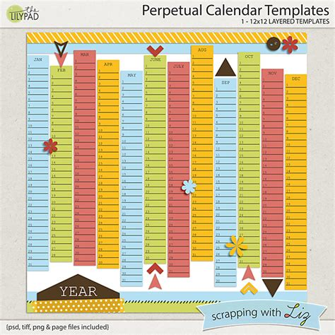 scrapbook calendar template digital scrapbook template perpetual calendar