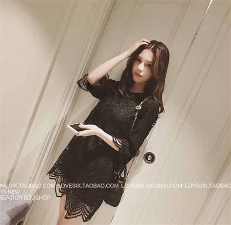 Dress Hitam Longdress Mini Dress Dress Wanita dress brokat hitam cantik 2016 jual model terbaru murah