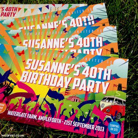 themes glastonbury festival ticket birthday invites wedfest