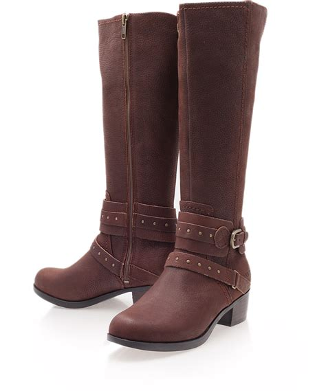 brown leather boots for ugg brown esplanade leather kneehigh boots in brown