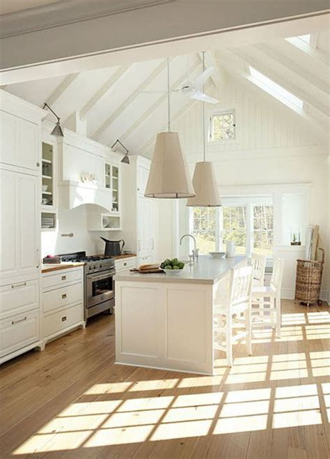 White Kitchen Lighting Vaulted Ceilings White Or Wood Thewhitebuffalostylingco