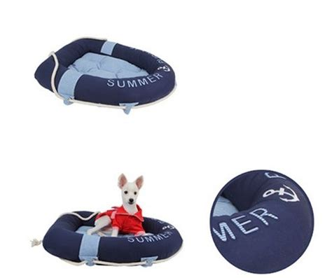 boat dog bed with anchor toy rowing bed in navy shop by designer puppia collection