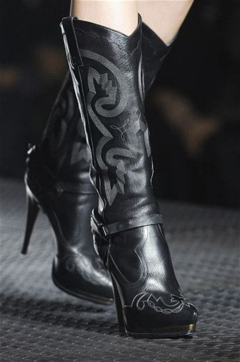 lanvin 2013 black high heel cowboy boots my