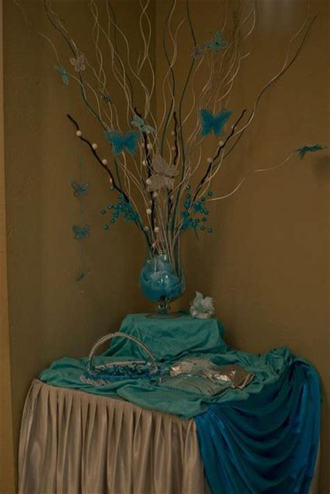 quinceanera butterfly theme decorations receptions turquoise and the top on