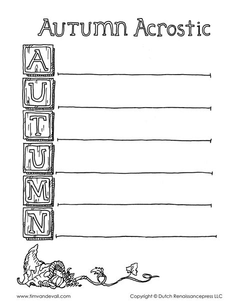 Autumn Acrostic Poem Template Bw Tim S Printables Acrostic Poem Template