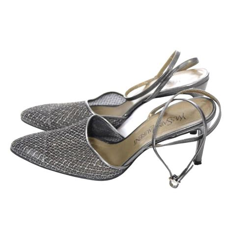 Ysl Heels by Ysl Pewter Mesh Ankle Yves Laurent Shoes Heels