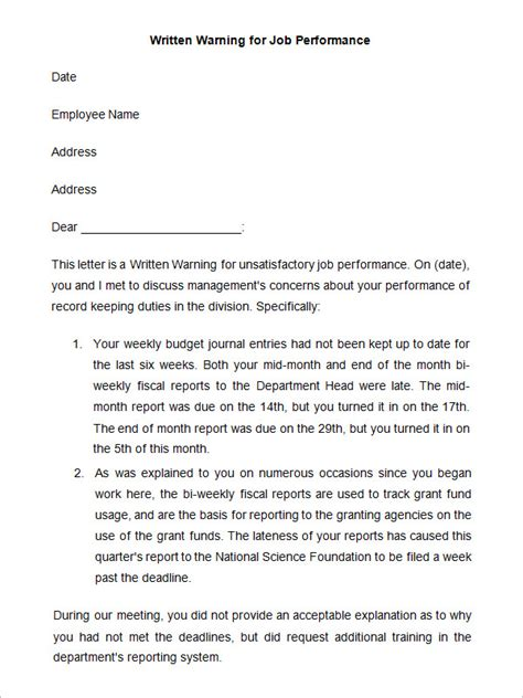 written warning template 33 hr warning letters free sle exle format