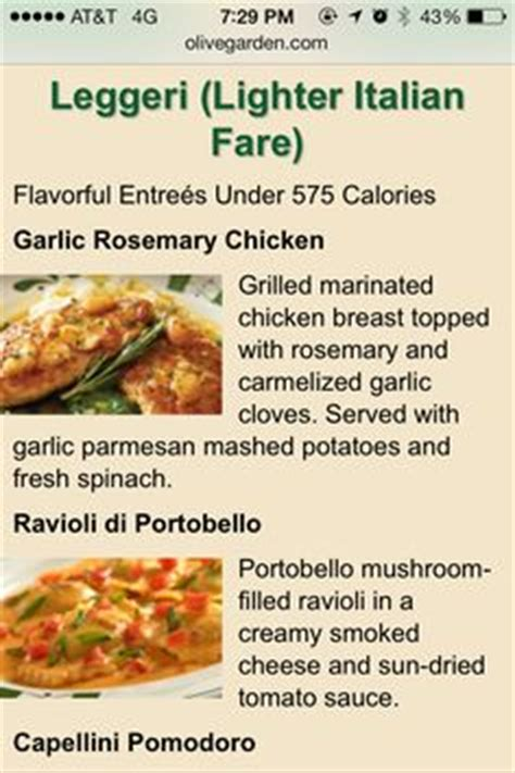 Olive Garden Healthy Options by 1000 Images About Light Healthy Restaurant Menu Choices