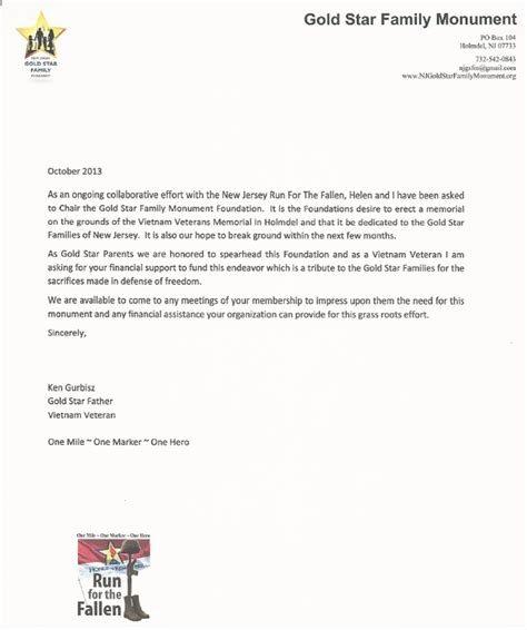Sponsorship Letter For Jersey Sponsor Nj Gold Family Monument