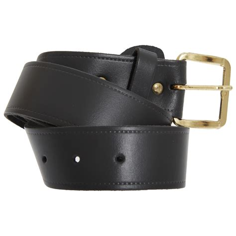 mens 1 5 inch plain leather belt with golden buckle ebay