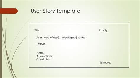 User Story Card Template by Epics And User Stories