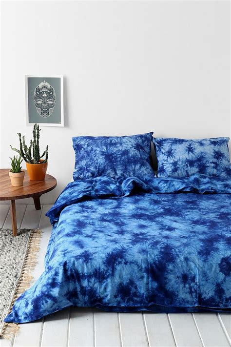 blue tie dye bedding magical thinking acid wash duvet cover indigo indigo