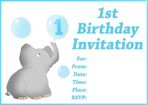 1st birthday card free template find your printable 1st birthday invitation here