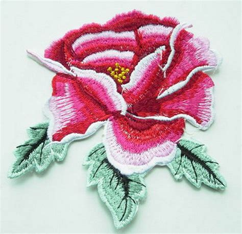 Patch Flower by Pt25 Iron On Patch Applique Embroidery Peony Flower Ebay