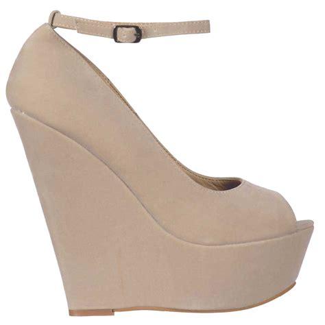 onlineshoe beige suede wedge peep toe platform shoes
