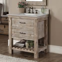 Rustic vanity with matching mirror comes with a driftwood finish and