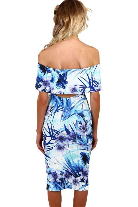 White Flower Midi Dress Size S M L blue and white floral bardot bodycon midi dress