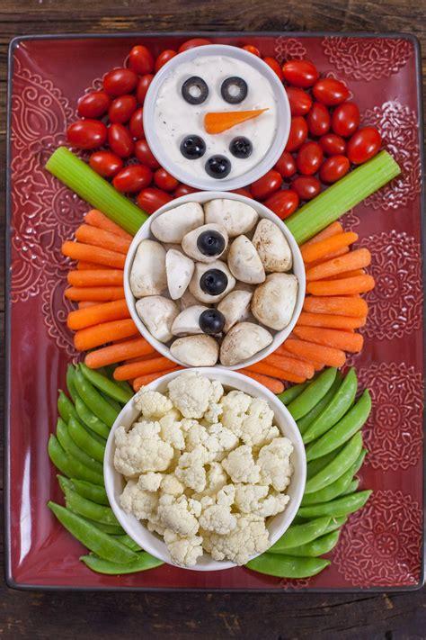 christmas veggie tray snowman eating richly