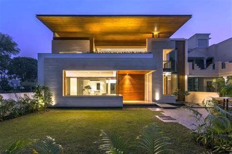 indian modern house front view  night