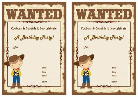 cowboy birthday card templates cowboy birthday invitations birthday printable