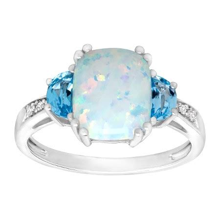 Change Topaz 1204 Ct 1 1 5 ct created opal and swiss blue topaz ring with diamonds in sterling silver 1 1 5