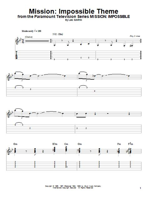 mi tab themes impossible theme sheet music by lalo schifrin guitar tab