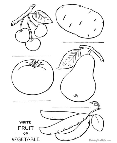 Fruits Coloring Pages Pdf vegetables page printable to color pre k color pages