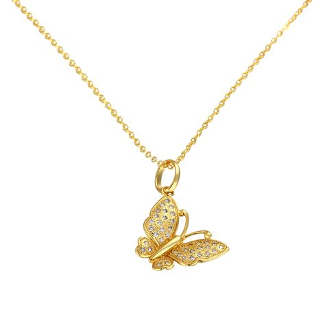 yellow gold plated necklaces butterfly pendants collar