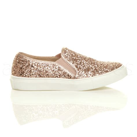 glitter shoes for womens flat slip on glitter plimsolls pumps
