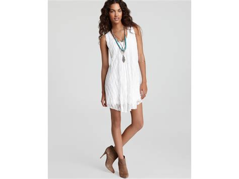 free people lace swing dress free people stripe lace swing dress in white lyst