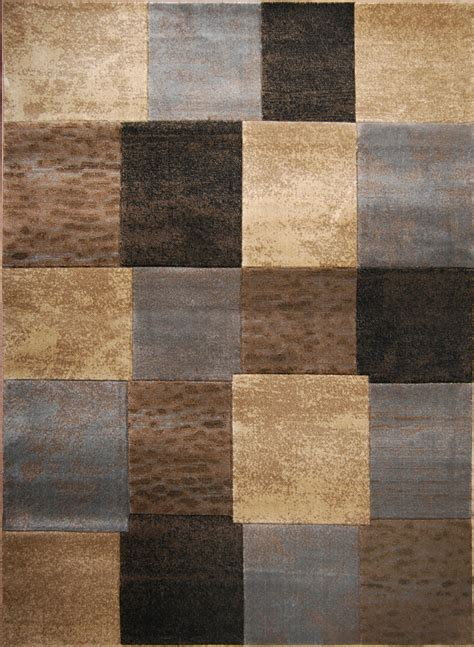 Brown And Grey Area Rugs Brown Gray Modern Cubes Area Rug 8x10 Geometric Squares Actual 7 8 Quot X 10 2 Quot Ebay