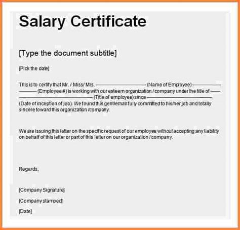 certification letter format exle 8 salary certificate format in word free salary bill format