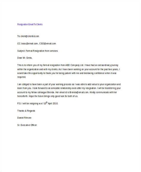 letter of resignation to clients 17 resignation email exles sles