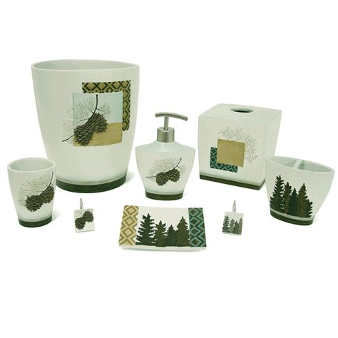 Pine Forest Geometrics Bath Accessories Pine Bathroom Accessories