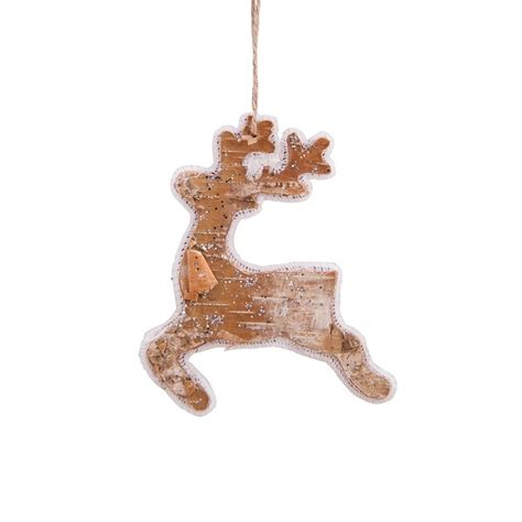 birch bark glitter reindeer christmas ornament c f enterprises