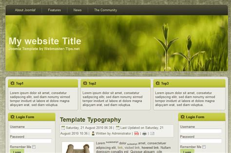 templates for website joomla free joomla template download free 1 5