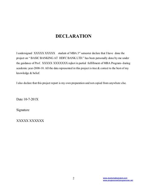 Mba 4th Sem Project Report In Finance by A Project Report On Hdfc