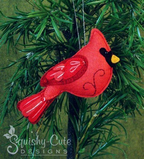 cardinal sewing pattern ornament red bird felt plushie