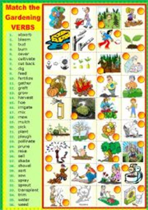 Gardening Verbs Worksheets Matching Gardening Verbs