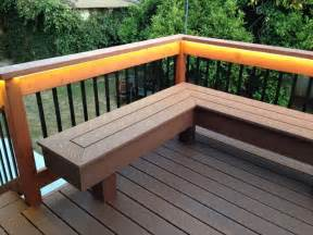 deck with bench composite amp redwood contemporary deck santa barbara